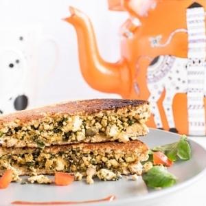 A front view of Tofu Red Chard Scramble Sandwich