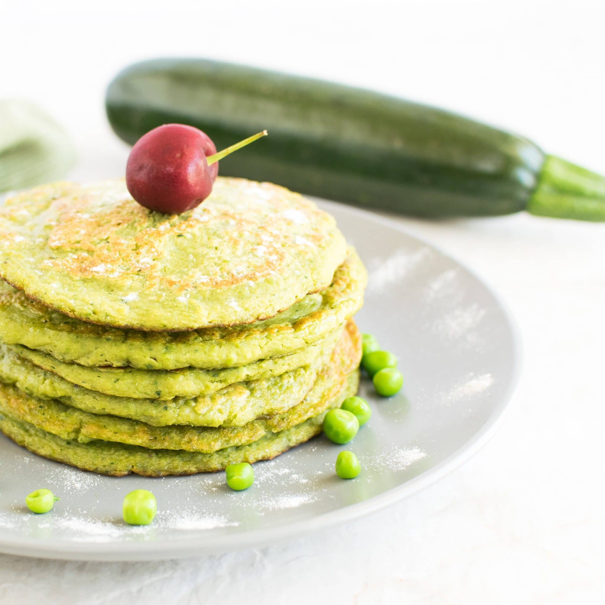 Green Peas Zucchini Sweet Pancakes | vegan and gluten free made with fresh vegetables these pancakes are perfect for a weekend family brunch | kiipfit.com