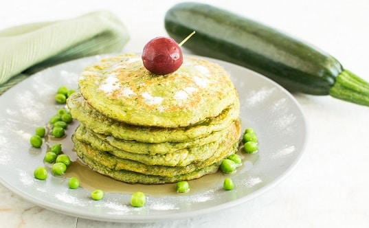 front view of the stack of Green Peas Zucchini Sweet Pancakes