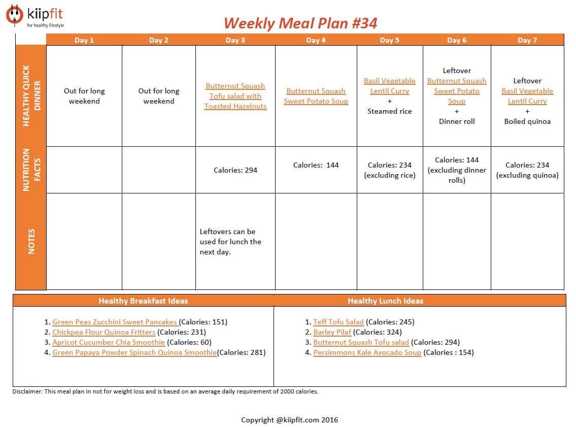 Weekly Meal Plan 34
