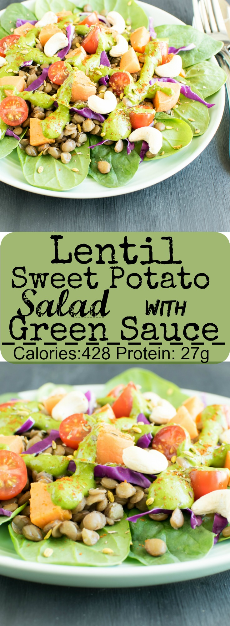 Lentil Sweet Potato Salad with Green Sauce | vegan and gluten free salad with a wholesome combination of protein, complex carbs, good fat, fiber and lots of vitamins and minerals | kiipfit.com