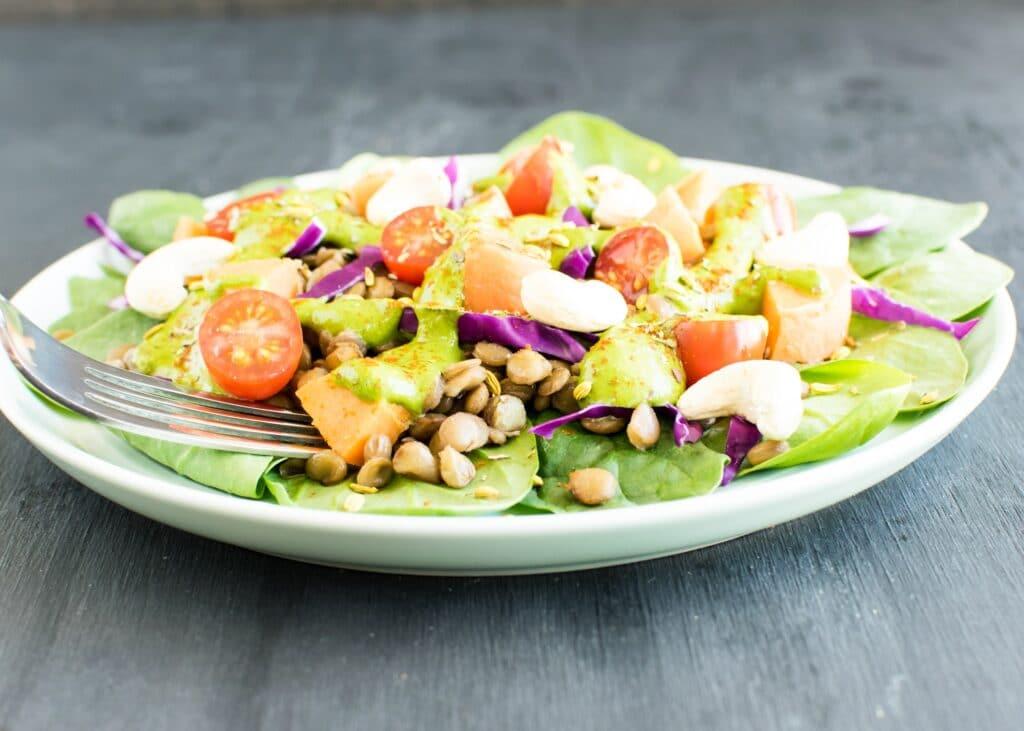 A fork picking up Lentil Sweet Potato Salad with Green Sauce