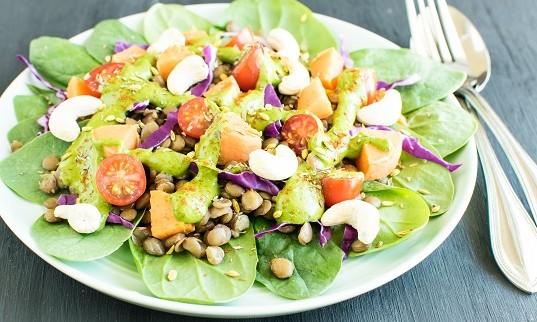 Lentil Sweet Potato Salad with Green Sauce