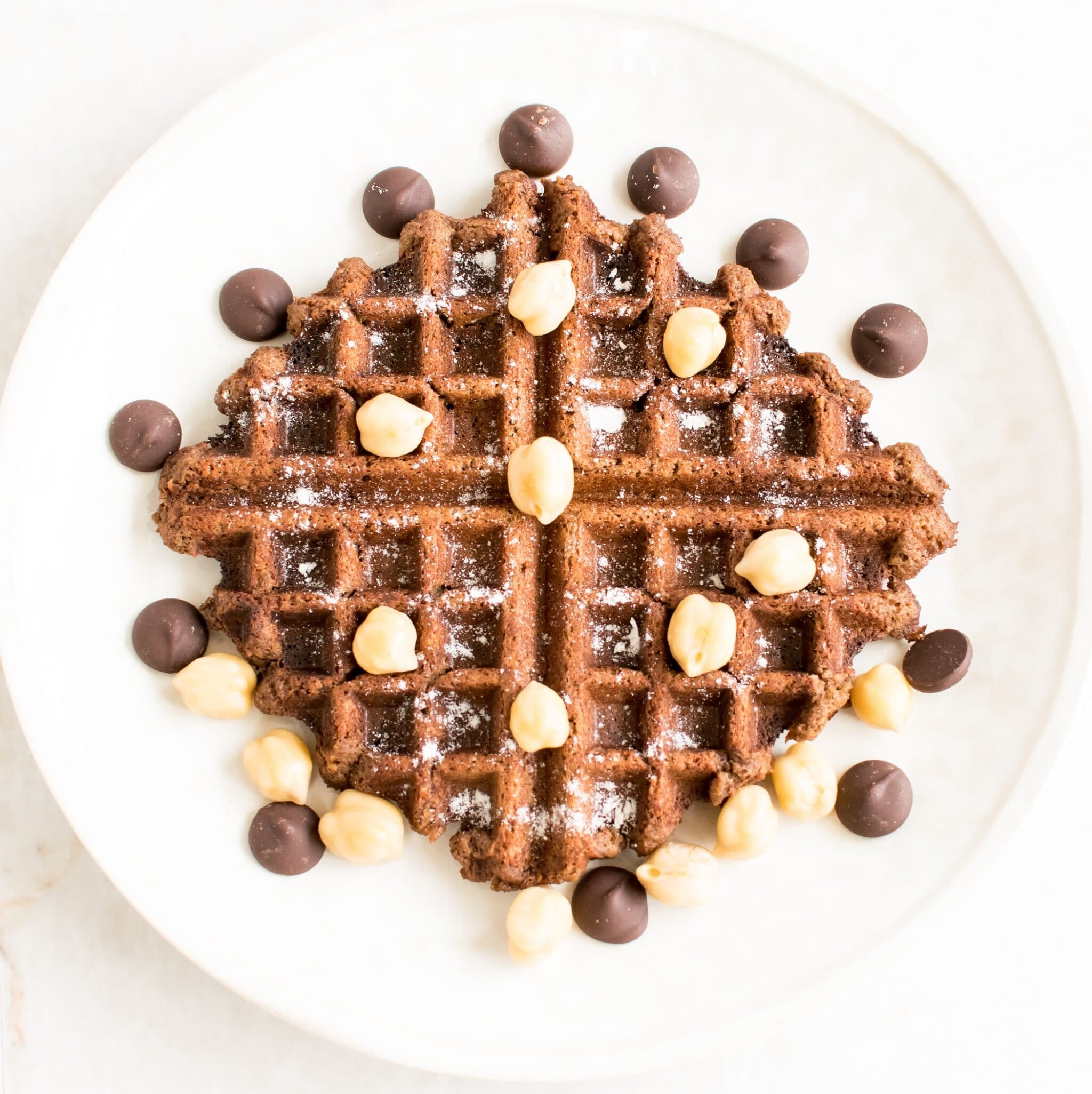 Top view of Chocolate Hummus Waffles