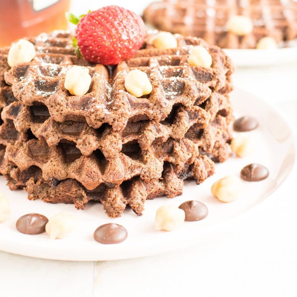 A stack chocolate hummus waffles.