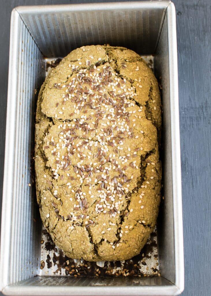 Teff Wheat Bran Chia Bread in a loaf pan