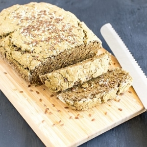 A front view of sliced teff wheat bran chia bread