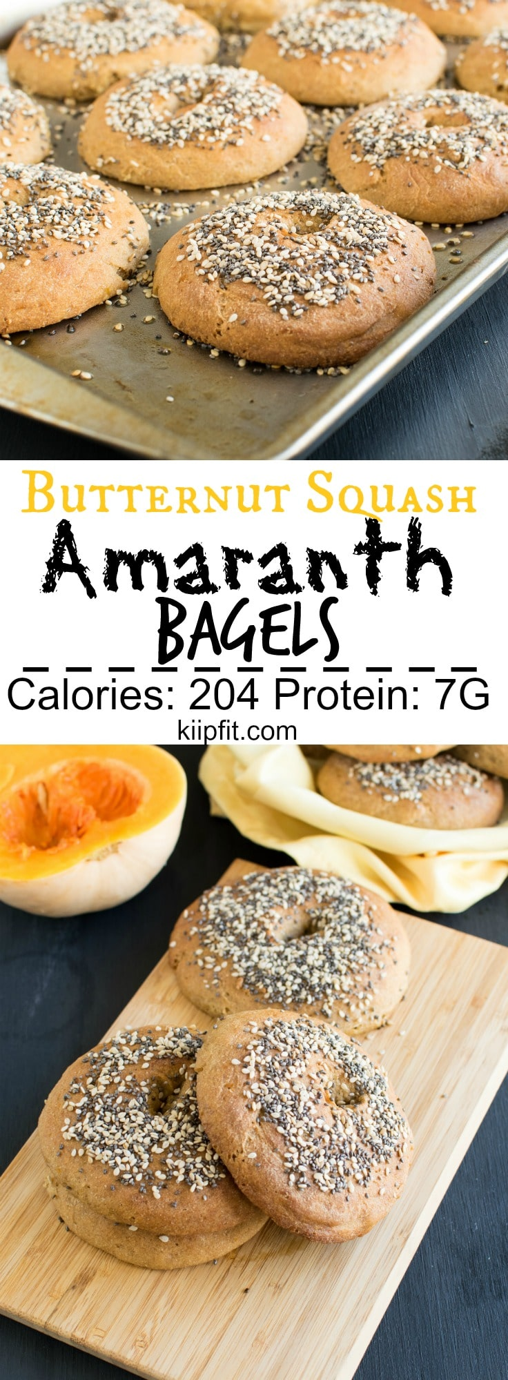 Butternut Squash Amaranth Bagels | fresh squash puree combined with protein rich amaranth flour and soften the texture with yeast these vegan bagels are perfect for weekend mornings when fresh out of oven | kiipfit.com