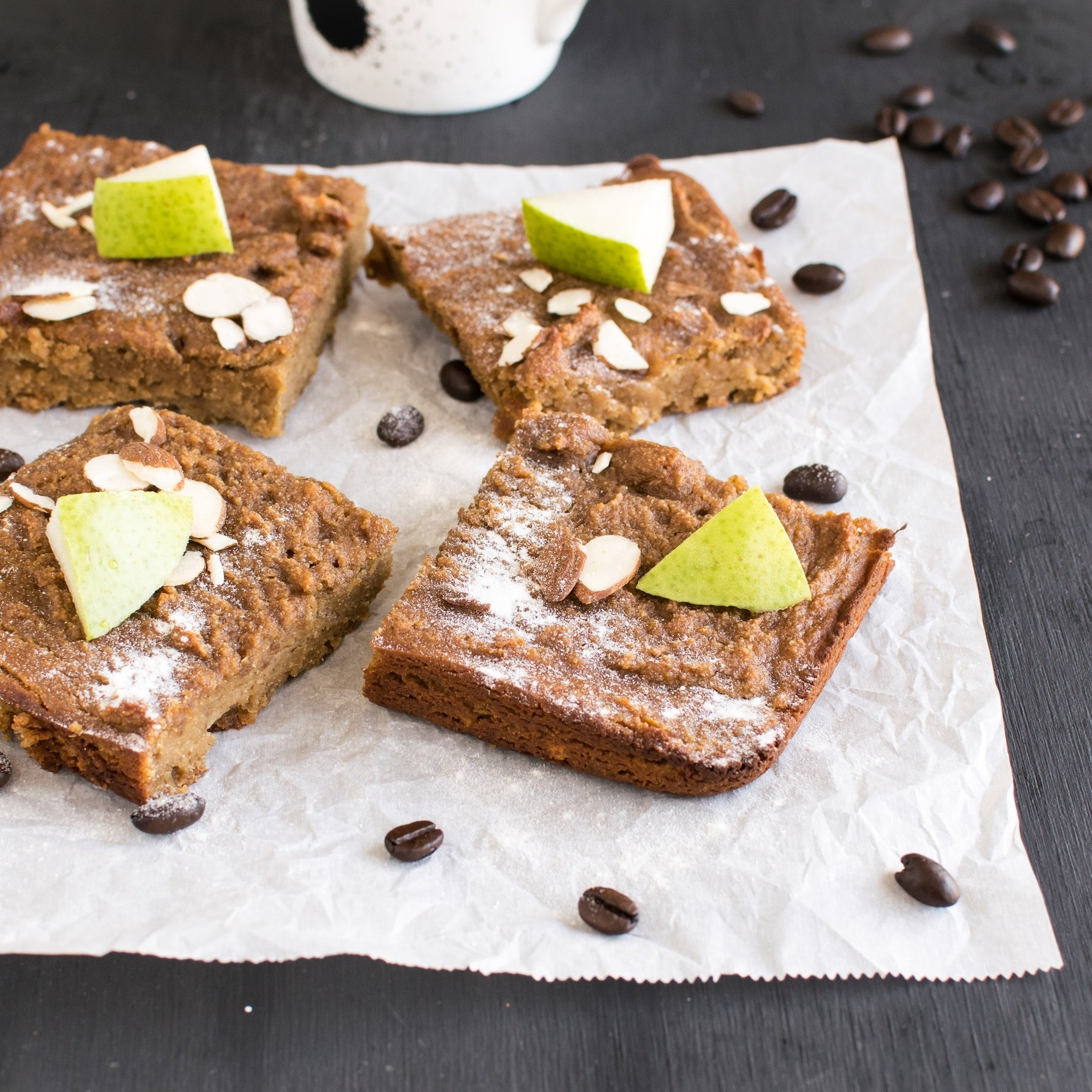 Caramelized Pear Coffee Brownies | vegan paleo treat with delicious ingredients | kiipfit.com