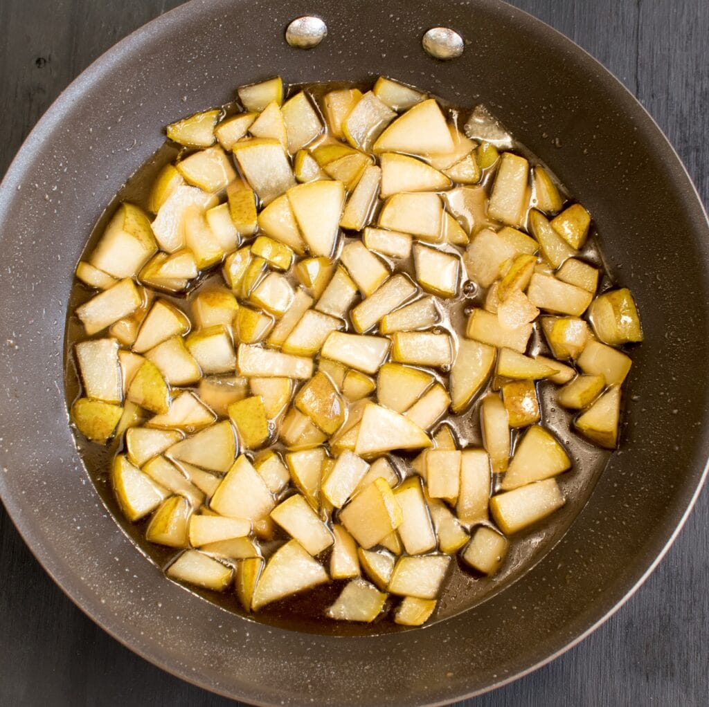 Caramelized Pear in a pan