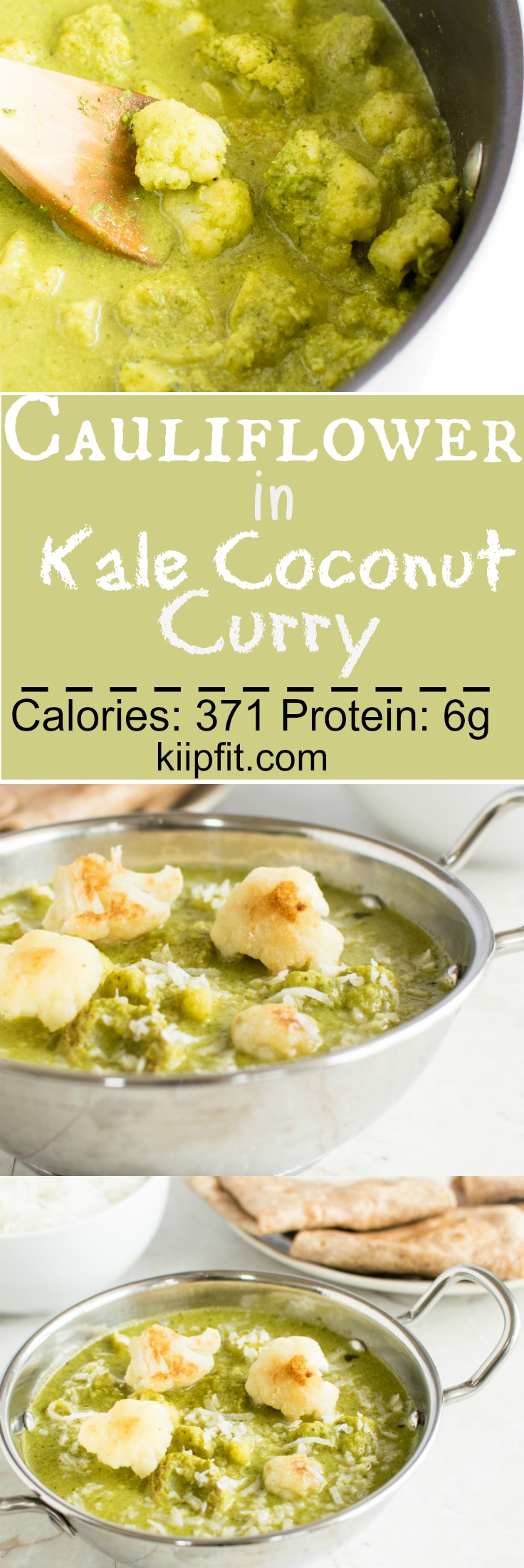 Cauliflower in Kale Coconut Curry