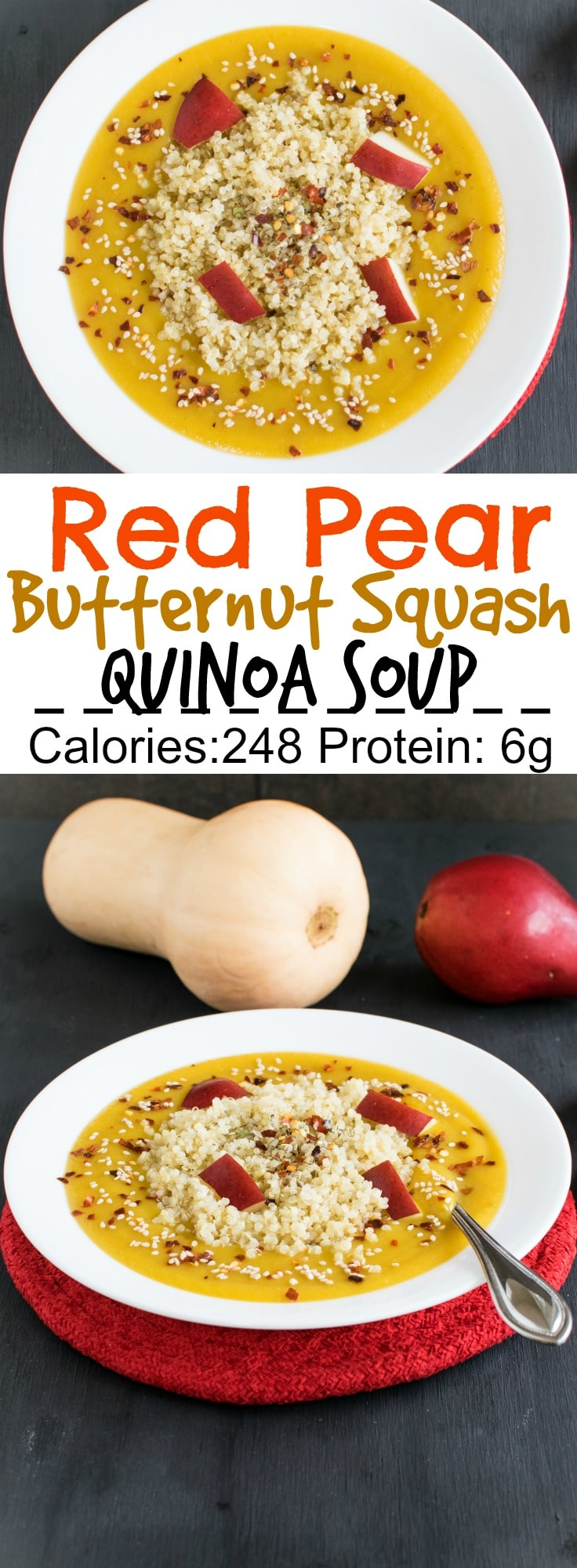 Red Pear Butternut Squash Soup with Quinoa | vegan and gluten free meal with lots flavors and immense nutrition | kiipfit.com