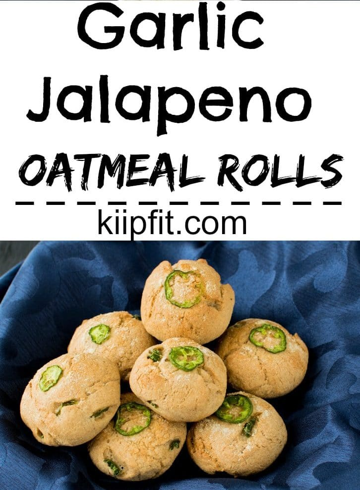 A close up view of Garlic Jalapeno Oatmeal Rolls