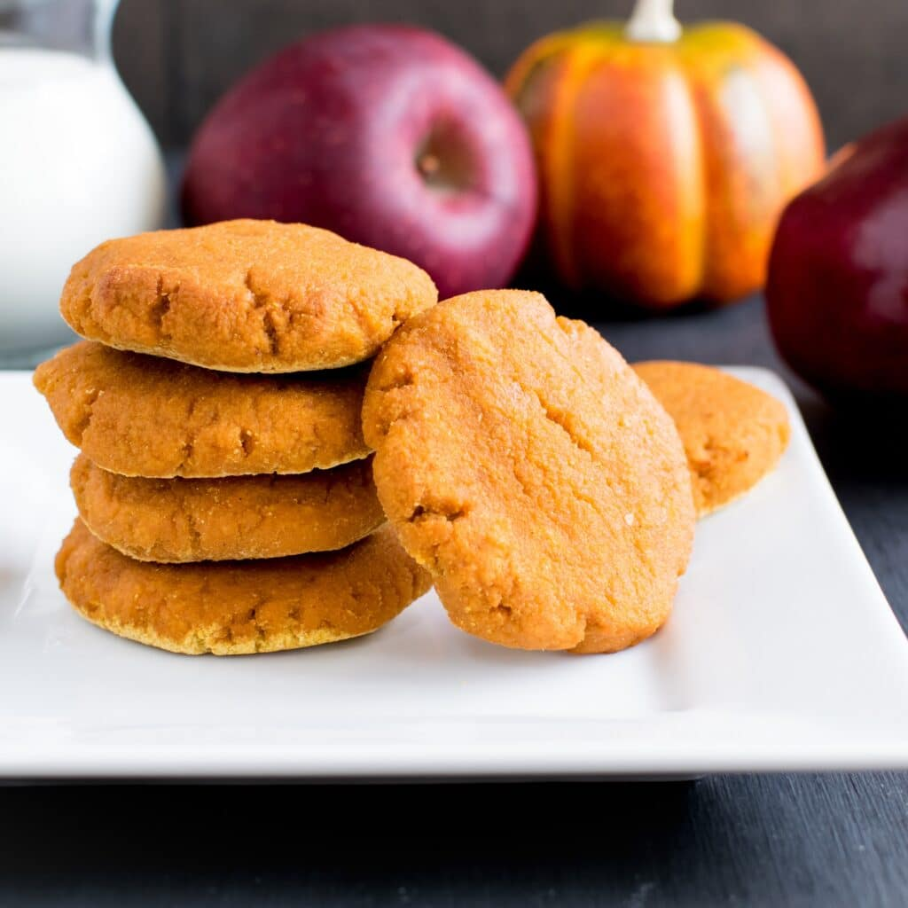 A front view of a stack of Apple Sauce Pumpkin Cookies