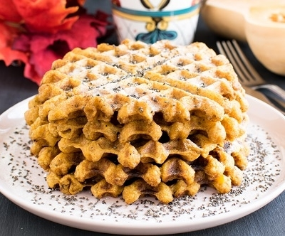 Stacked butternut squash chia spelt waffles