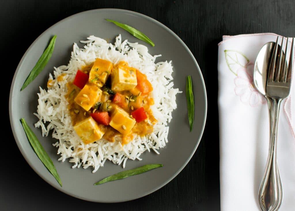 Top view of Tofu Pumpkin Curry