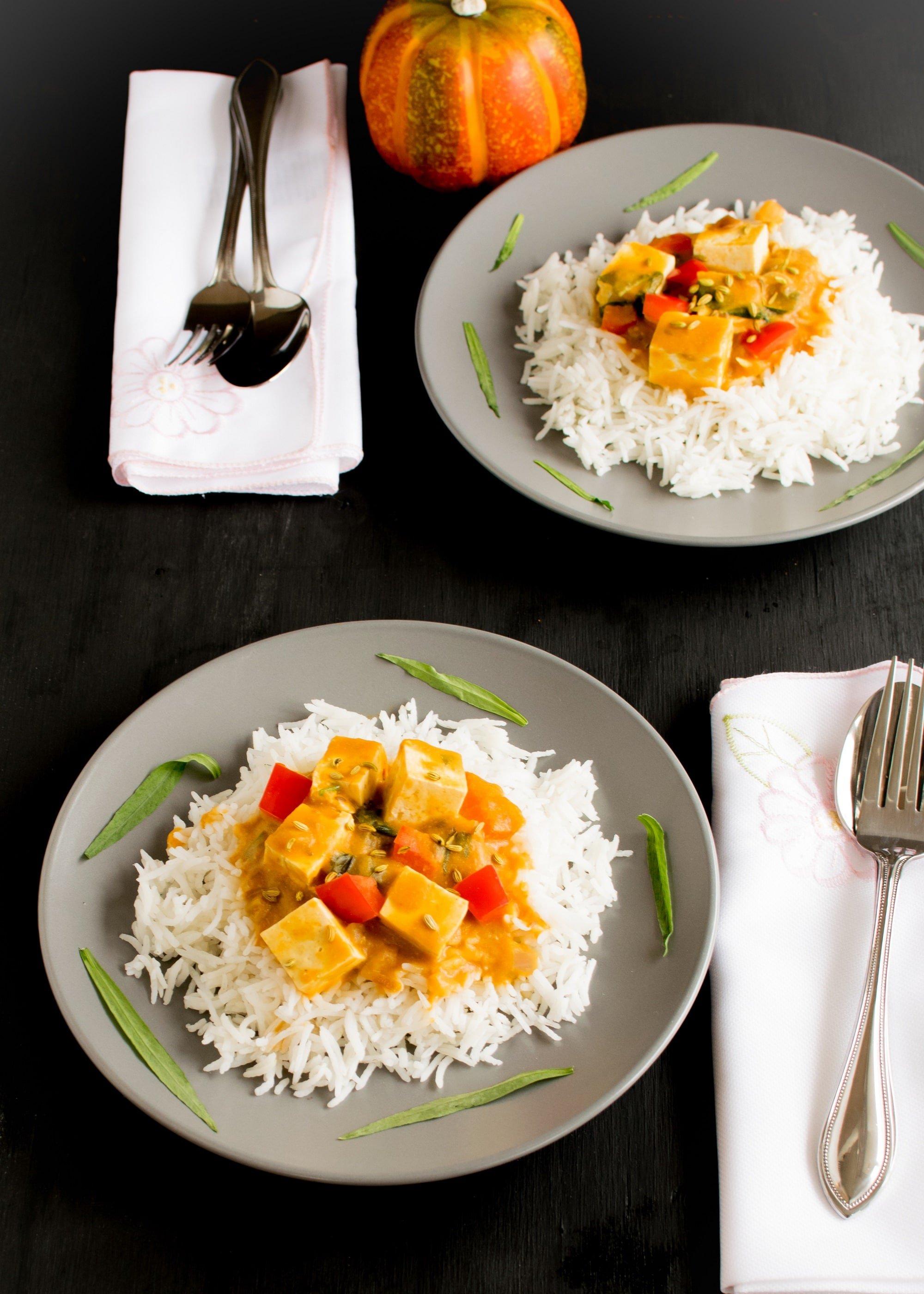 Tofu Pumpkin Curry | vegan and gluten free Thanksgiving dinner idea | kiipfit.com