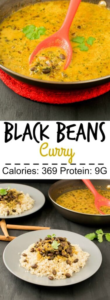 Multiple images of Black Beans Curry