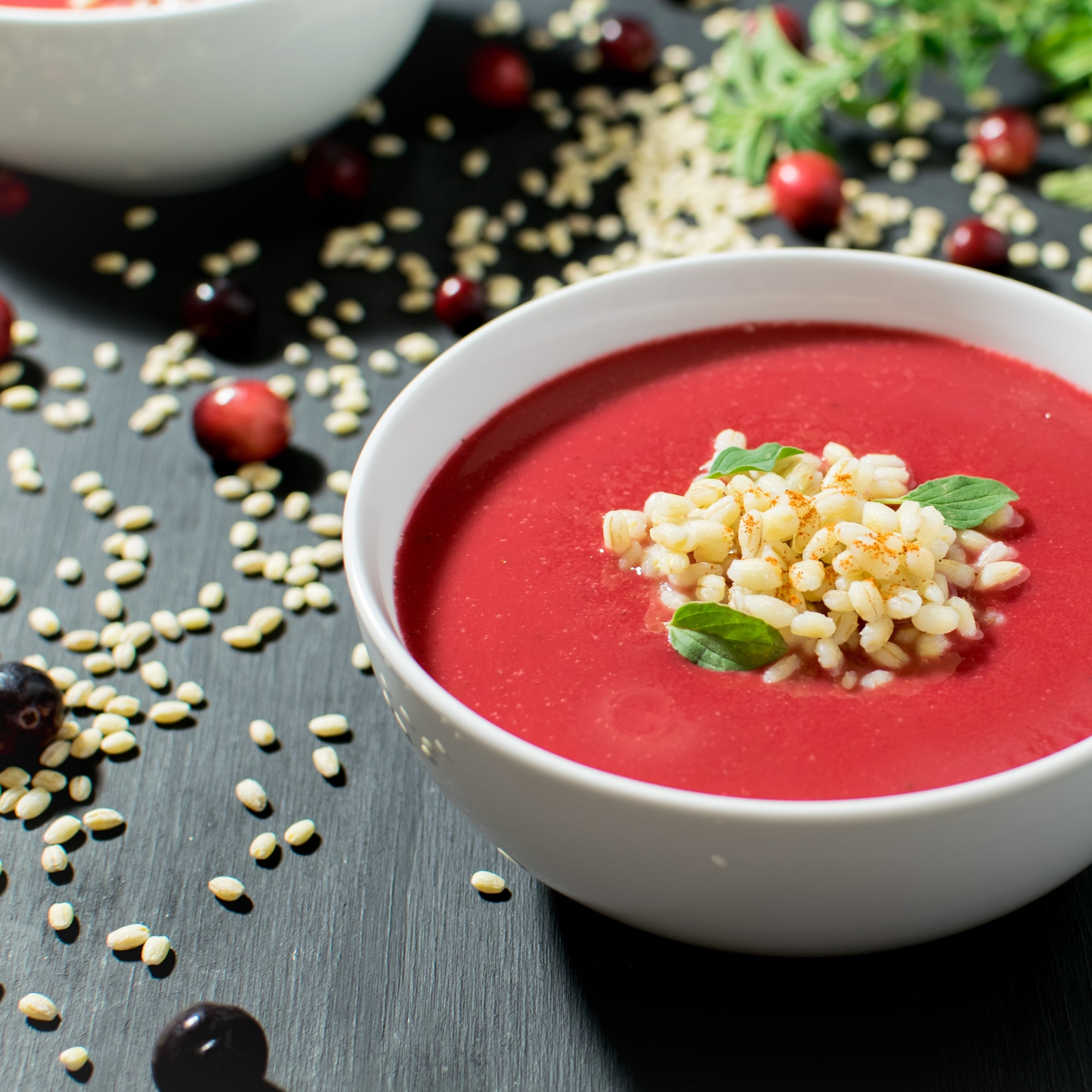 Cranberries and Barley combined together with herbs, vegetable broth and some spices this Cranberry Barley Soup turned out to be so healthy and delicious and perfect for the cold weather | vegan and dairy free | kiipfit.com