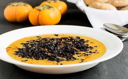 Forbidden Black Rice Persimmons Soup