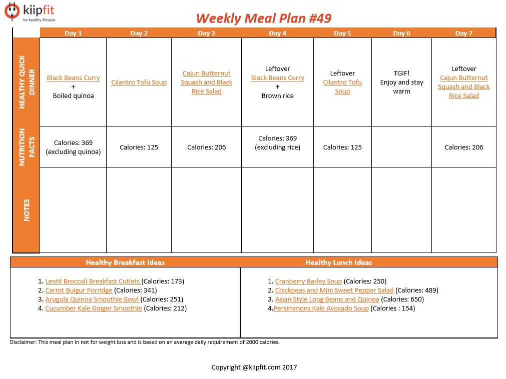 Weekly Meal Plan #49 | kiipfit.com