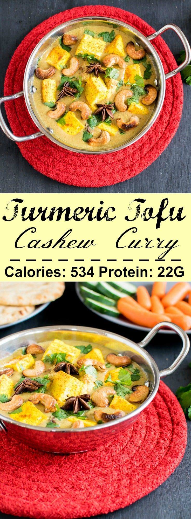 Multiple images of Turmeric Tofu Cashew Image with its titile and nutritional information