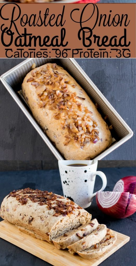Multiple images of Roasted Onion Oatmeal Bread