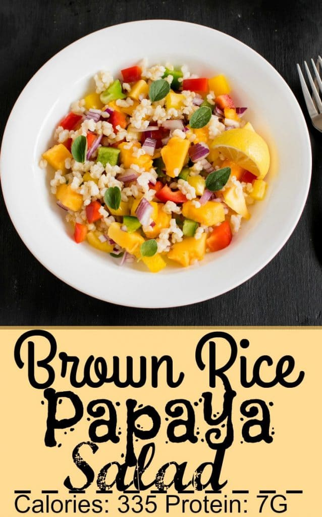 A close up view of Brown Rice Papaya Salad