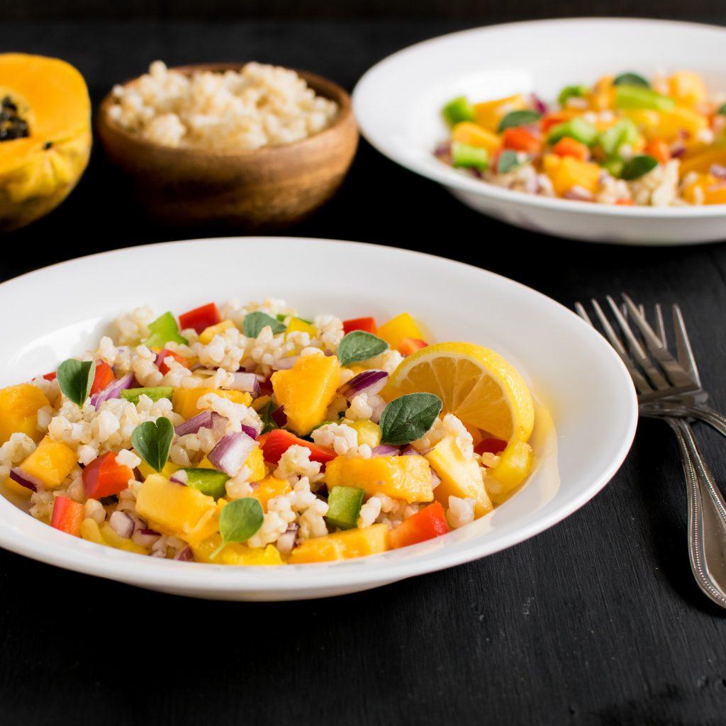 A front view of Brown Rice Papaya Salad