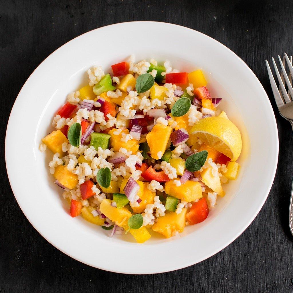 Top view of Brown Rice Papaya Salad