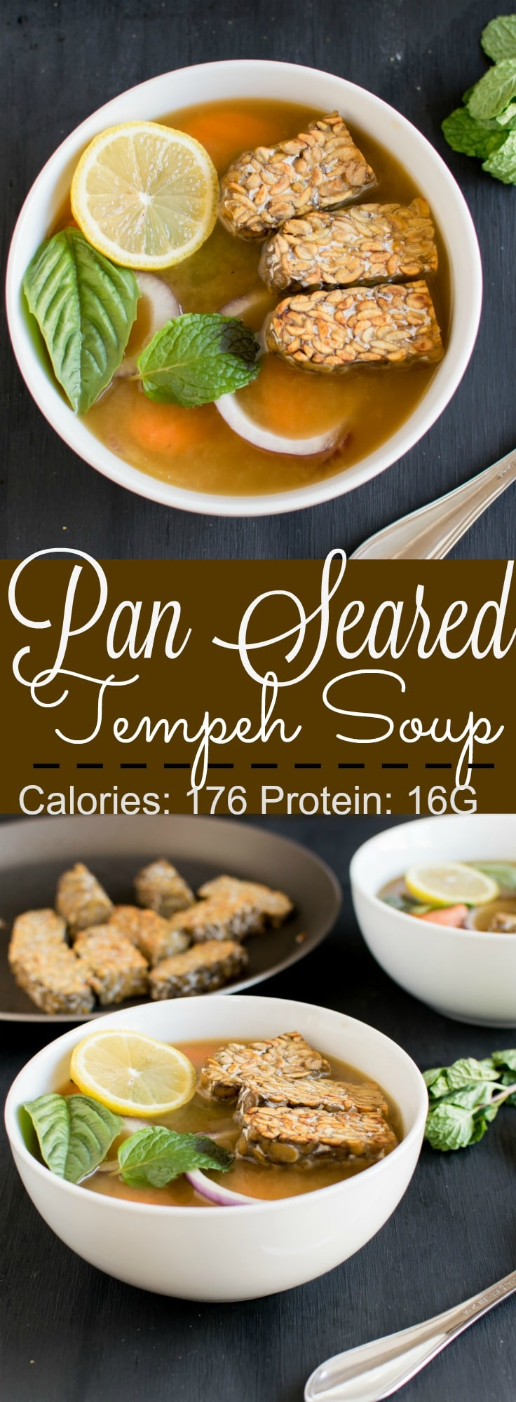 Pan Seared Tempeh Soup - protein rich clear soup, mildly seasoned and super easy to make . Protein: 16 G | kiipfit.com
