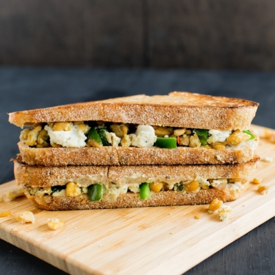 A front view of Jalapeno Tempeh Cheese Sandwich