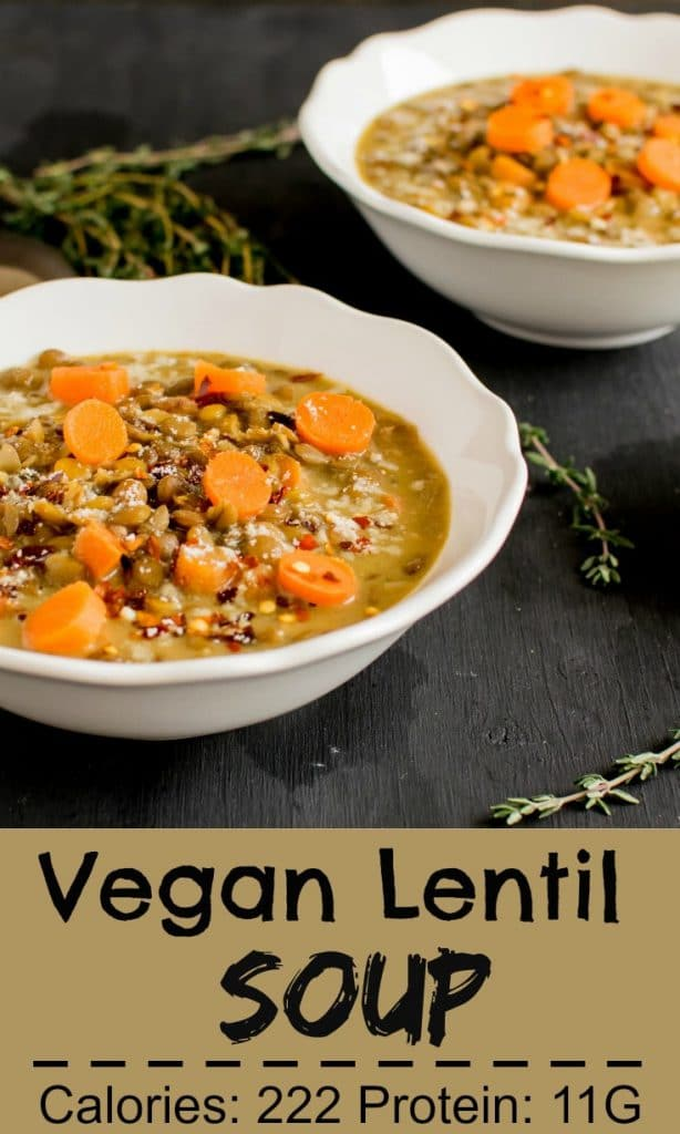 Two soup bowls served with Vegan Lentil Cheese Soup