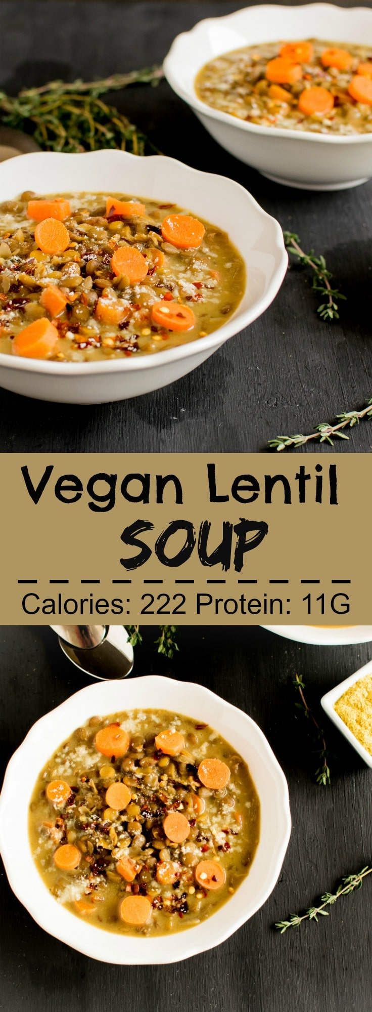 Vegan Lentil Cheese Soup - this creamy thick lentil soup flavored brilliantly with parmesan cheese is a perfect on the go meal on busy days. Can be made ahead of time in big batches | kiipfit.com