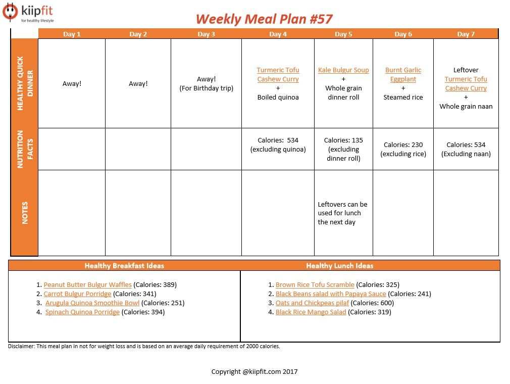 Weekly Meal Plan #57 | healthy vegan and vegetarian recipes | kiipfit.com
