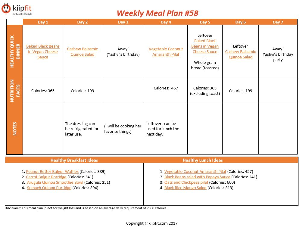 Weekly Meal Plan #58 | healthy vegan and vegetarian recipes | kiipfit.com