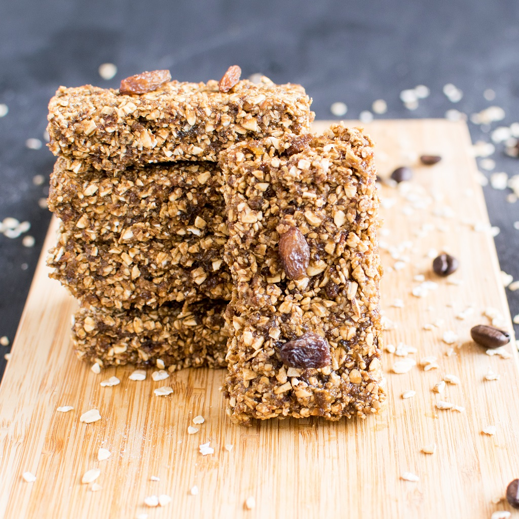 Front view of No Bake Coffee Oats Energy Bars