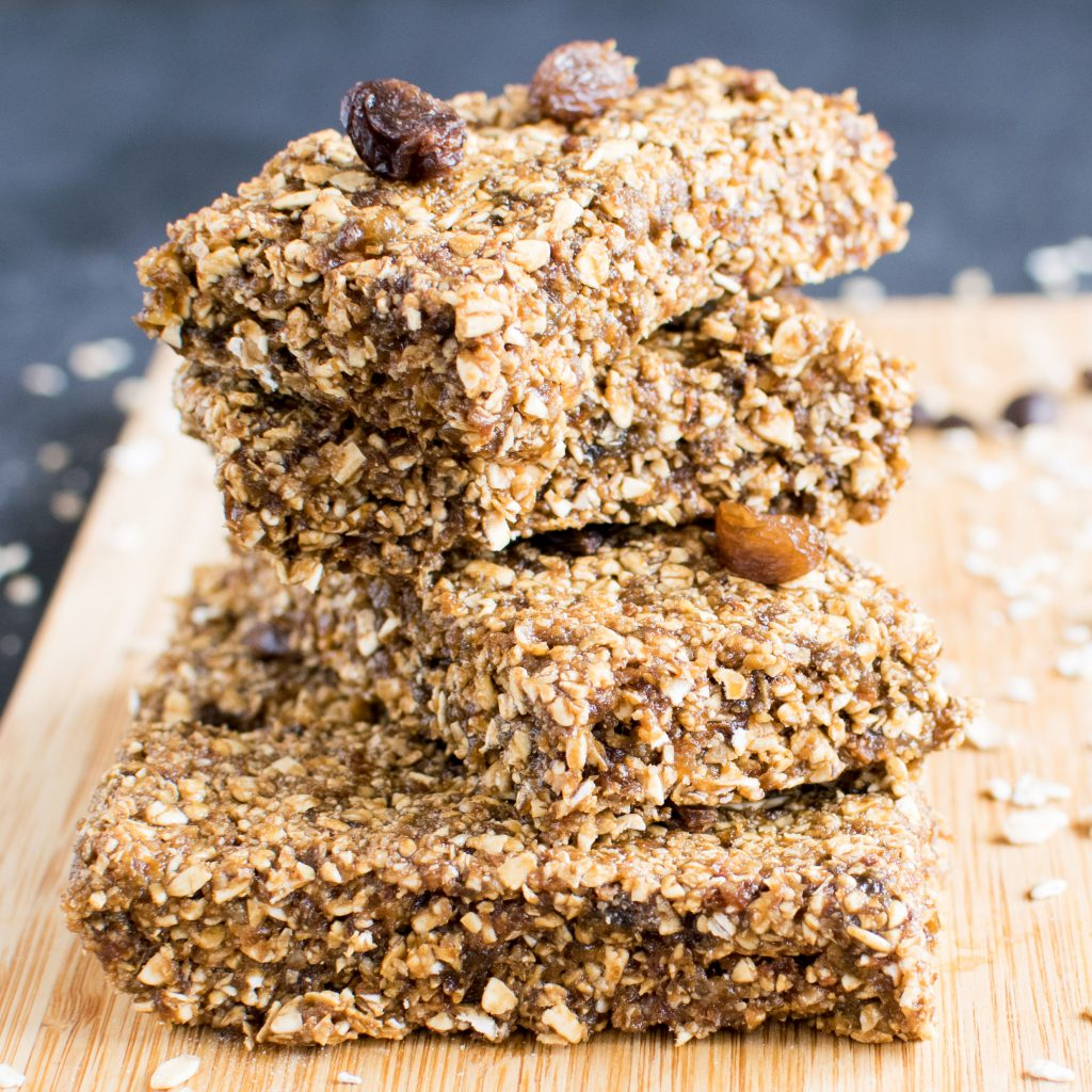 Stacked No Bake Coffee Oats Energy Bars