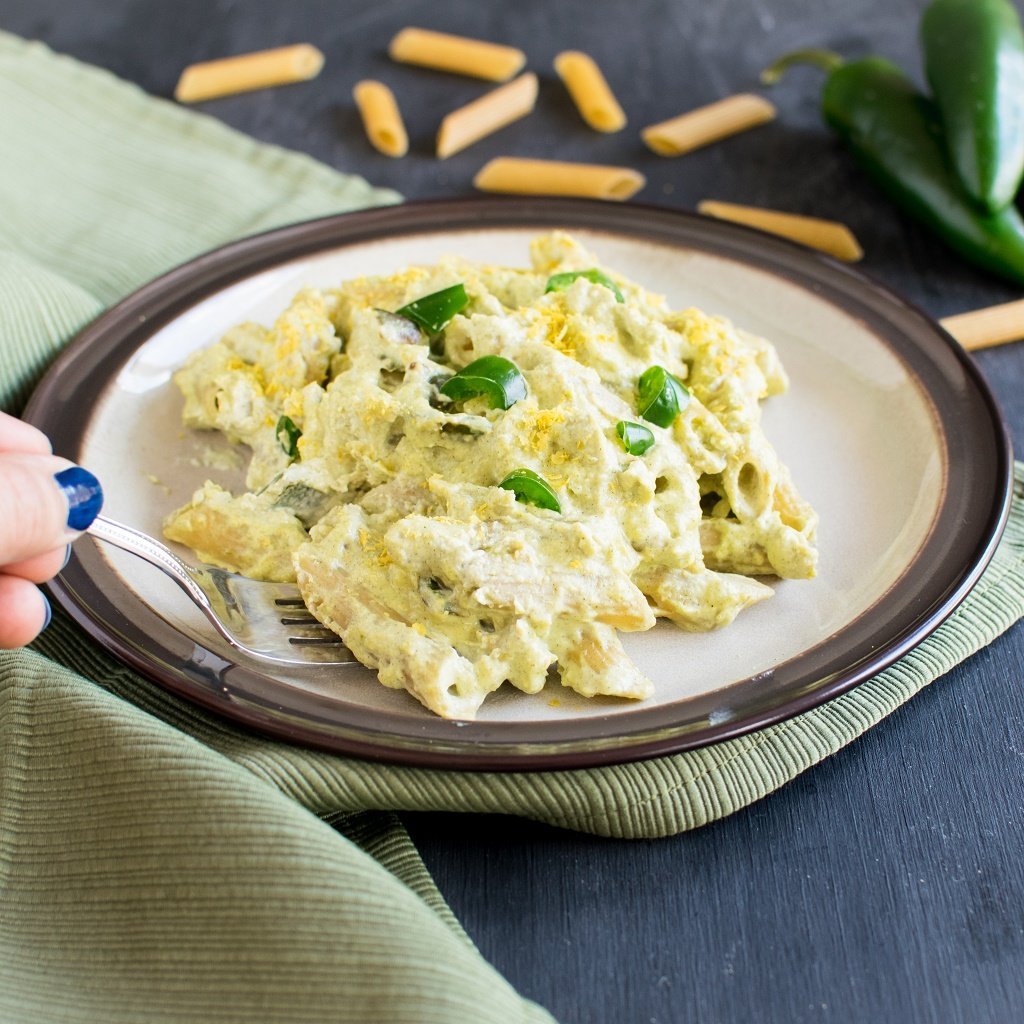 A fork picking up Jalapeno Cheese Pasta