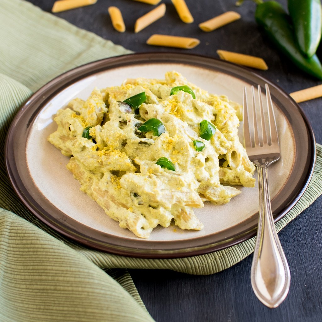 A front view of Jalapeno Cheese Pasta - thick, creamy 10 minutes meal for any work week nights. Easy and quick vegan cheese sauce made with a secret ingredient | kiipfit.com