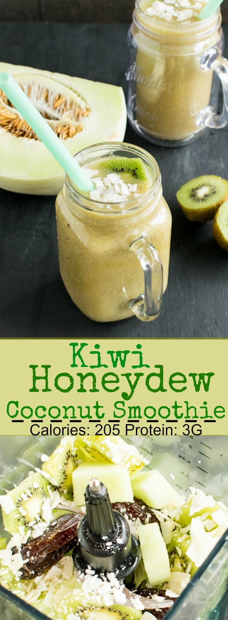 Kiwi Honeydew Coconut Smoothie | vegan and gluten free refreshment. All you need is only 4 ingredients and a blender | kiipfit.com
