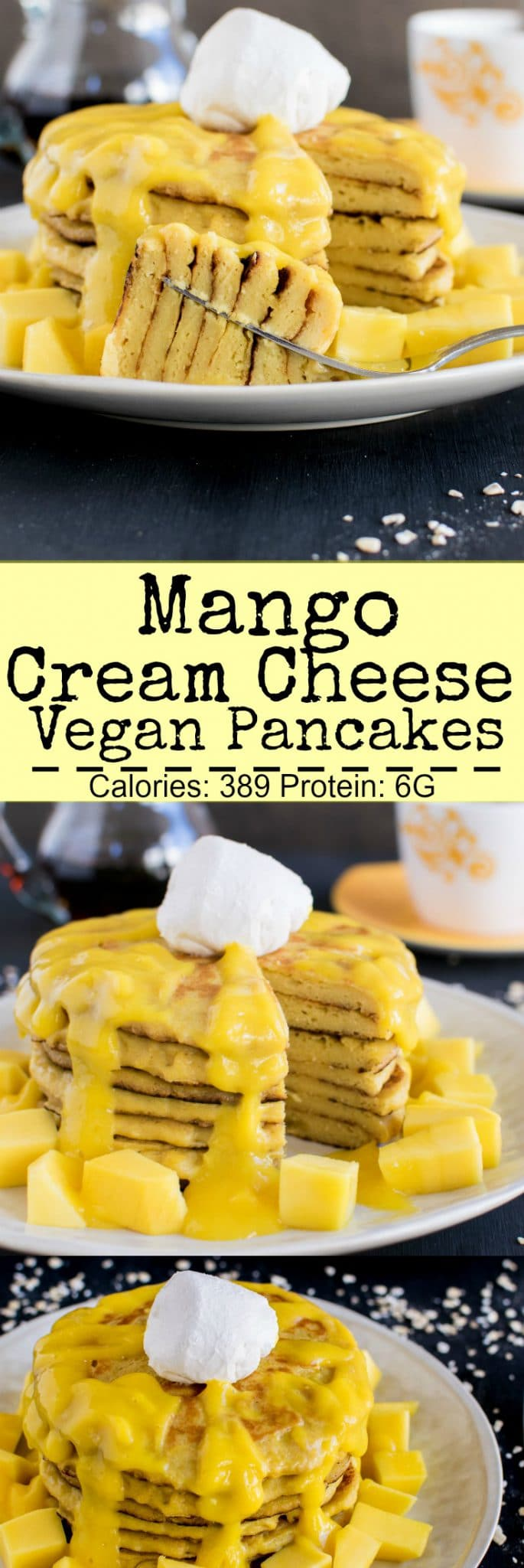 Mango Cream Cheese Vegan Pancakes with Mango Puree | when you dig into salty cream cheese along with tangy mango puree and all the to the sweet pancakes stack, it tastes exceptionally delicious | kiipfit.com