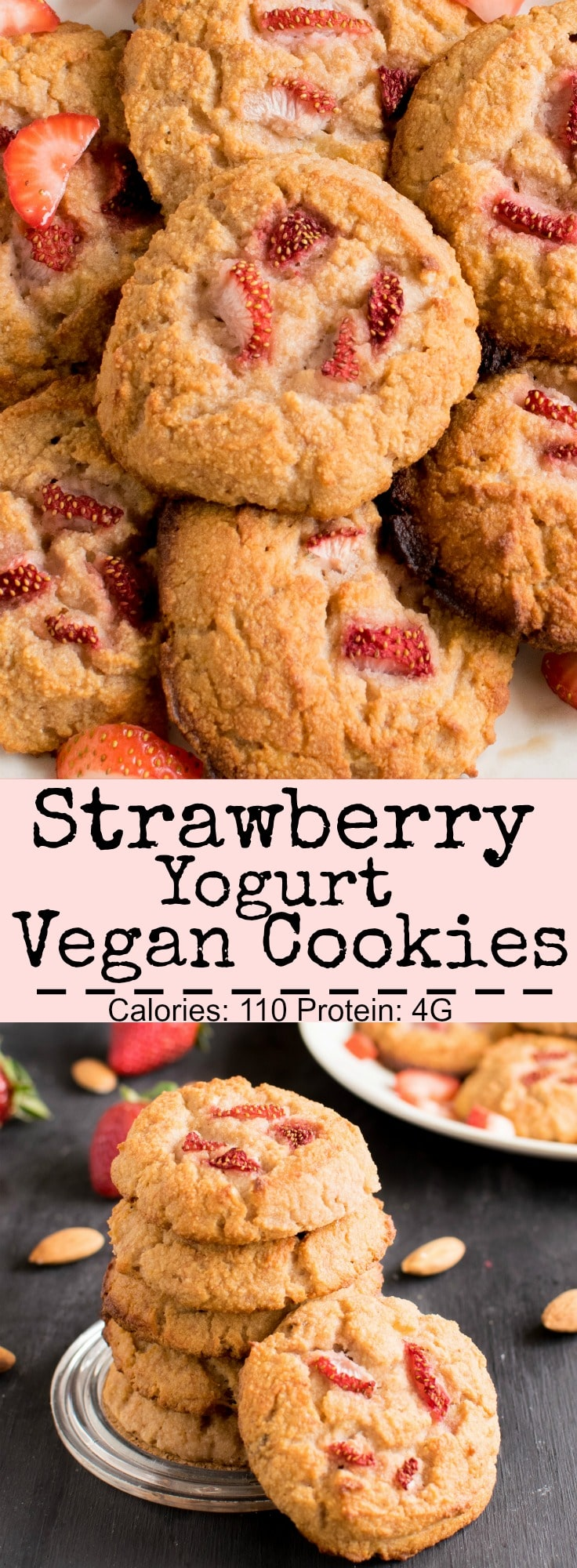 Multiple images of Strawberry Yogurt Vegan Cookies