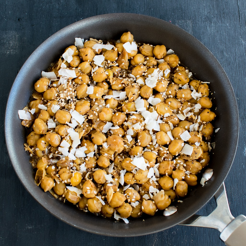 Garlicky Sesame Chickpeas with Coconut in the pan