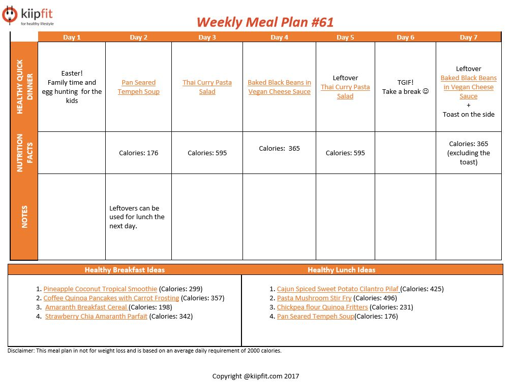 Weekly Meal Plan #61 | healthy vegan and vegetarian recipes | kiipfit.com