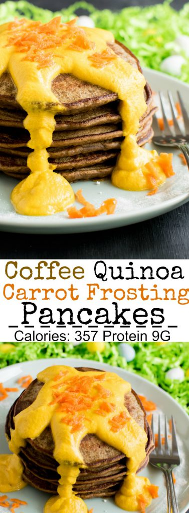 Multiple images of Coffee Quinoa Pancakes with Carrot Frosting