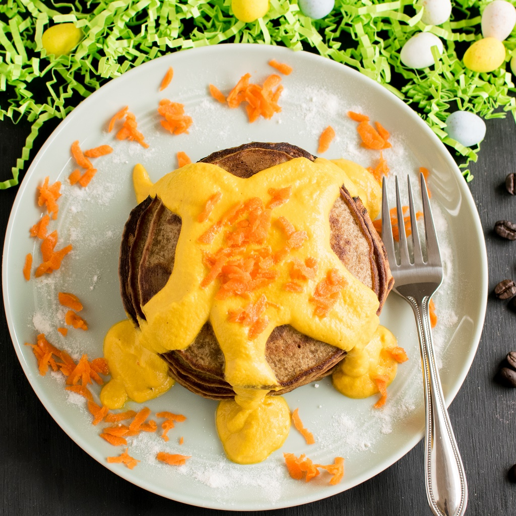 A top view of Coffee Quinoa Pancakes with Carrot Frosting