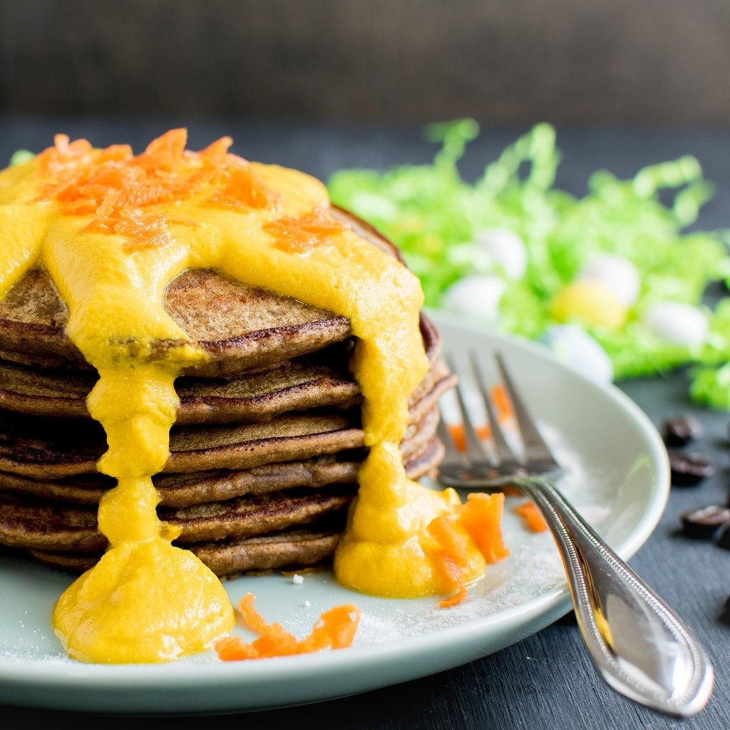 A front view of the stacked Coffee Quinoa Pancakess