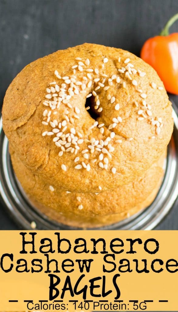 Top view of Habanero Cashew Sauce Bagels