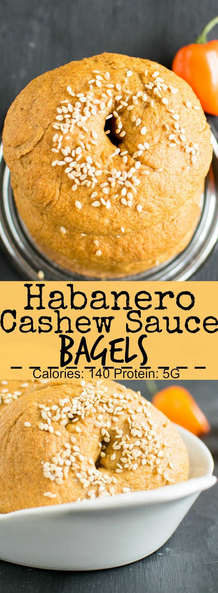 Habanero Cashew Sauce Bagels are moist, soft and fluffy with mild essence of fresh habanero peppers. These vegan bagels tastes outstanding and are so easy that even a new baker can enjoy these | kiipfit.com